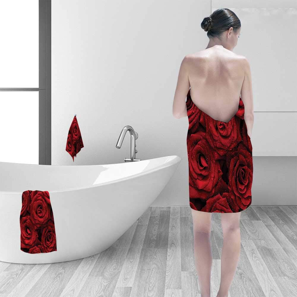 Printsonne Quick Dry Bath towelBlack Romantic Eternal Symbol of Love Red Roses with Rain Drops on Petals Absorbent Ideal for Everyday use