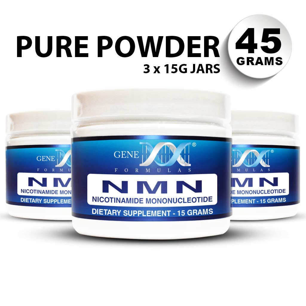 Genex NMN Nicotinamide Mononucleotide (45 Gram Serving 3x15g Jars) - Certified 99% Pure Powder