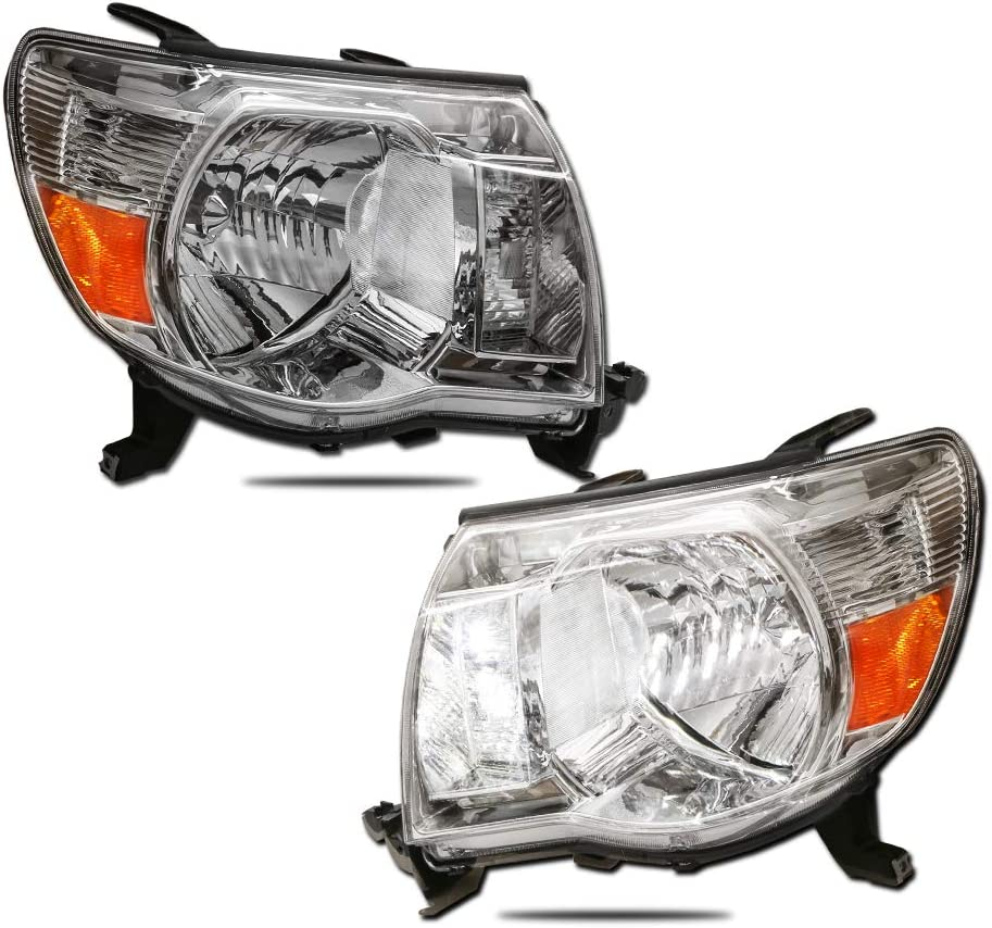 Set of 2 MOSTPLUS Headlight Assembly Compatible with 2005 2006 2007 2008 2009 2010 2011 Toyota Tacoma-Chrome Housing with Amber Reflector Front Lamp