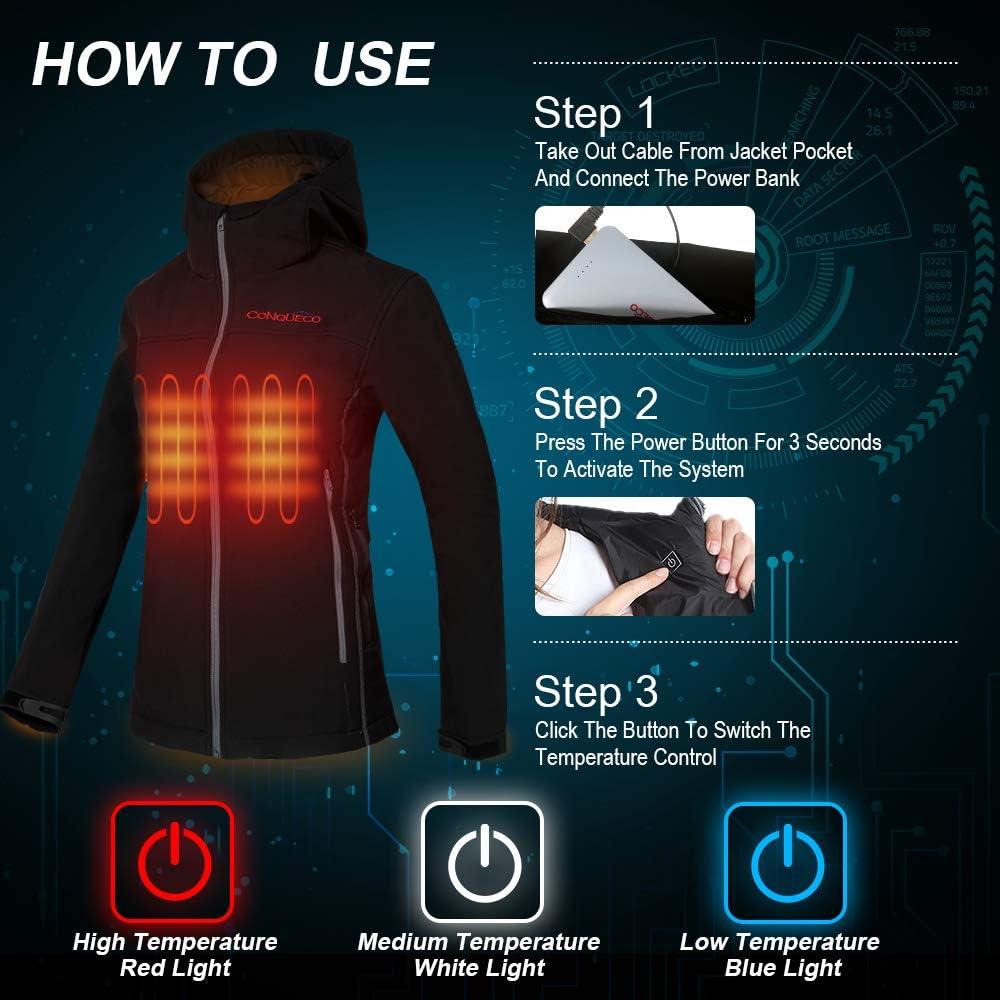 CONQUECO Femme Chauffante Veste Chaud Imperm/éable R/ésistant avec Batterie pour Usage Quotidien en Hiver M, Noir
