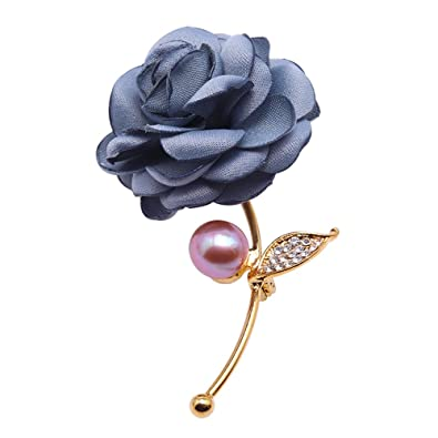 3a434ca8e16 Image Unavailable. Image not available for. Color: JYX Blue-Rose Brooch  Lavender Freshwater Pearl Brooch Wedding Pin