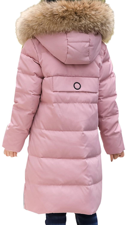 SellerFun Girls Windproof Long Puffer Coat Faux Hooded White Duck Down Jacket