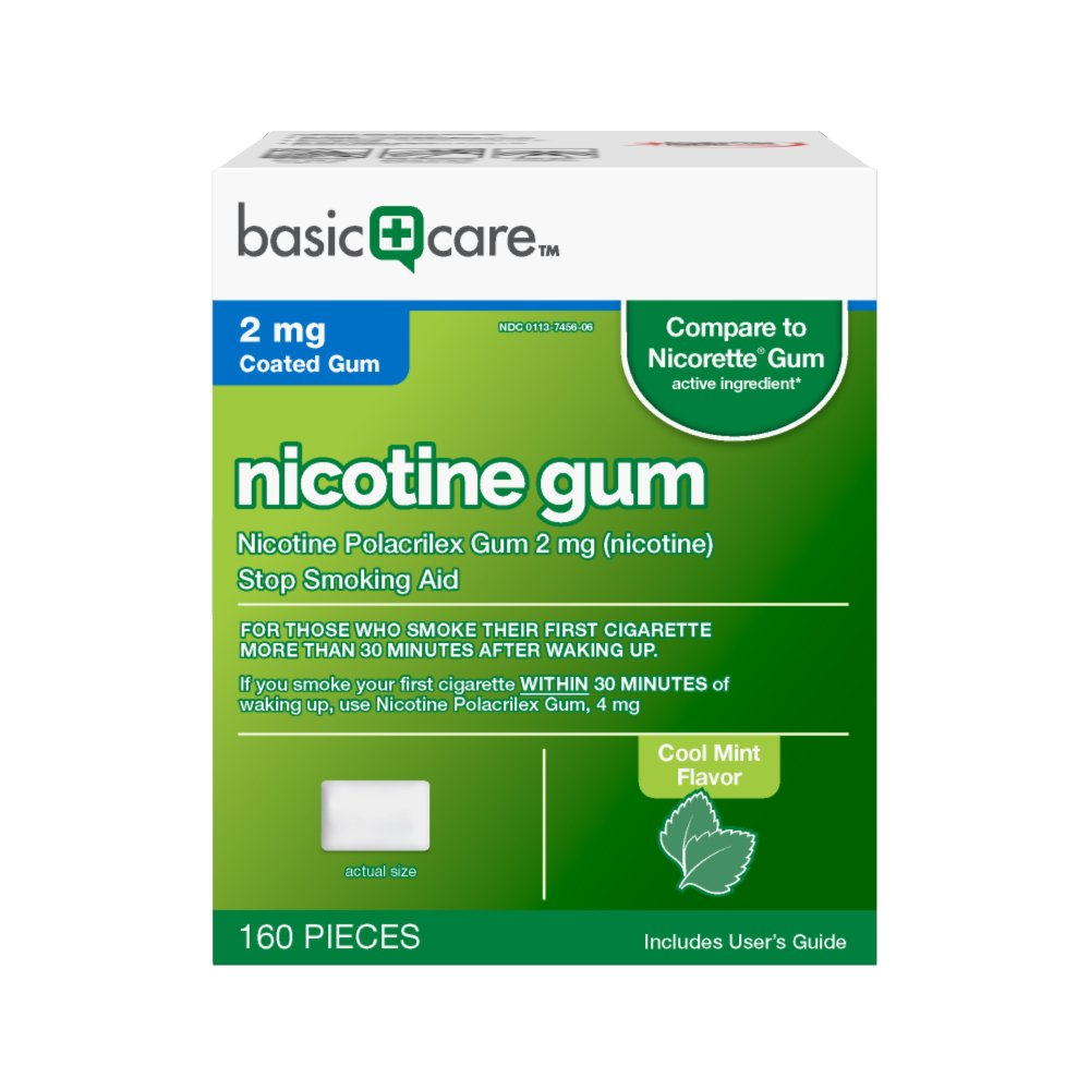 Basic Care Nicotine Gum 2 mg Stop Smoking Aid, Cool Mint, 160 Count