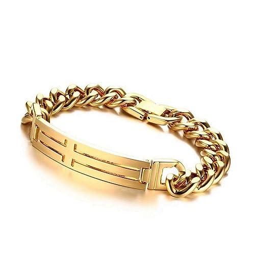 Amazon Com Inmofn Mens Stainless Steel Gold Cross Bracelet