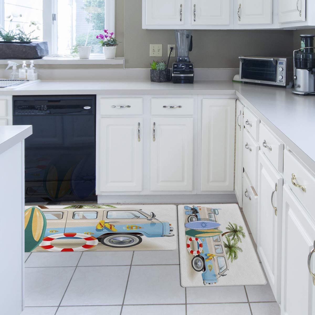 18 x 48 Prime Leader Kitchen Door Mats Set of 2 Stain Resistant Comfort Carpet Soft Non-Slip PVC Backing Floor Mats Runner Rugs Set Delicious Sushi from Japan 18 x 30