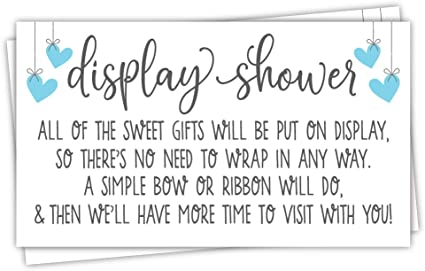 Amazon Com 50 Blue Display Shower Cards Unwrapped Gift Request For Boy Baby Shower Invitation Inserts Health Personal Care