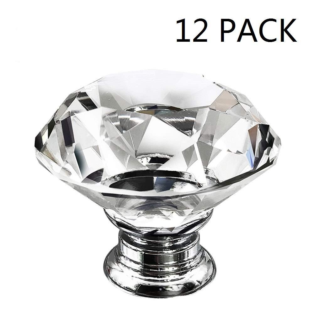 Dresser Crystal Knobs 30MM 12 PCS Glass Crystal Drawer Knobs Pulls Cabinet Handle for Home Kitchen Wardrobe Cupboard