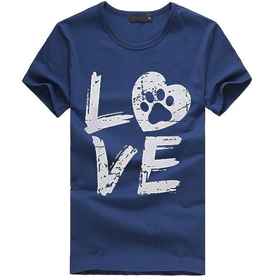 FRAUIT Blusa de Manga Corta para Mujer Hawai Love Camiseta de La Letra Top Casual con