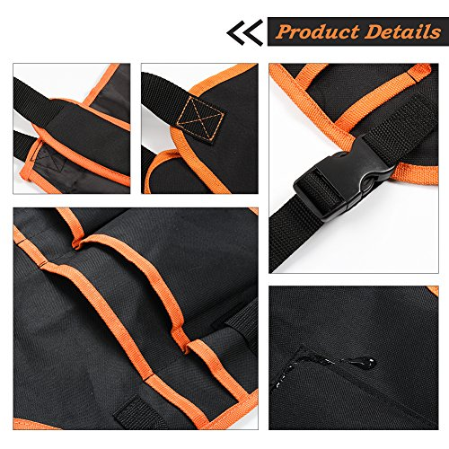 Bingogous Tool Apron Woodworking Apron, Heavy Duty Canvas Work Apron with 16 Pockets for Holding Tools, Cross-Back Straps Adjustable Size by Bingogous (Image #2)