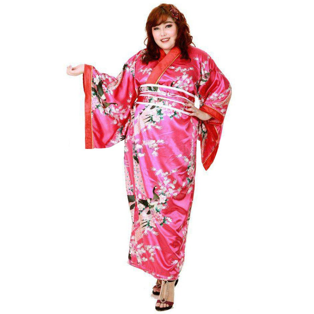 Princess of Asia Große Größen Japan Yukata Satin Geisha Kimono + Obi Gürtel Cosplay Morgenmantel L – XL XKPS-1