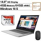 2020 Newest Lenovo IdeaPad S150 14 Inch Laptop for Business Student  AMD A6-9220e up to 2.4 GHz  4GB DDR4 RAM  64GB eMMC  WiFi  Bluetooth  HDMI  Windows 10 Home S + NexiGo Wireless Mouse Bundle