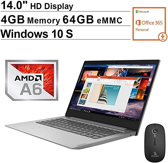 2020 Newest Lenovo IdeaPad S150 14 Inch Laptop for Business Student| AMD A6-9220e up to 2.4 GHz| 4GB DDR4 RAM| 64GB eMMC| WiFi| Bluetooth| HDMI| Windows 10 Home S + NexiGo Wireless Mouse Bundle