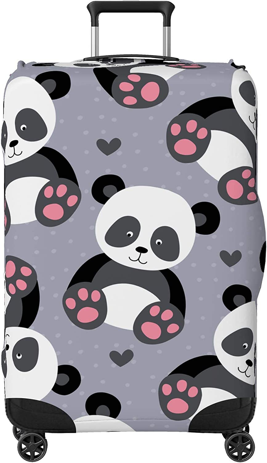Suitcase NOT Included Cute Baby Pandas Kids Suitcase Cover Skin Protector Grey Small 18-22