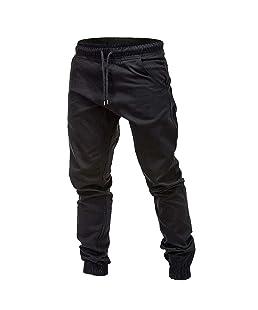 Cinnamou Pantalones de Algodón para Hombre, Pantalones de Trabajo con Bolsillos para Trabajo Viaje Deporte Pantalón con Cintura Elástica Cordón
