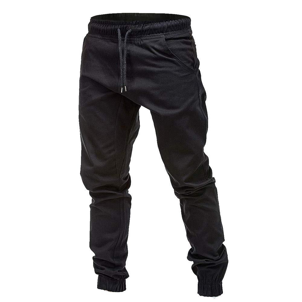 Pantalones Casuales de los Hombres Moda Color S/ólido Casuales Pantalones para Hombre C/ómoda Cintura El/ástica Los Pantalones Holgados pantal/ón Sueltos Casuales con cord/ón MMUJERY