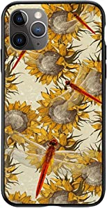 Sunflower - Dragonfly Vintage iPhone Case for Apple iPhone 11 - Glass Case with Unique Design Slim Fit Anti Scratch Shock Proof Girls Women Gifts Cover Compatible for Apple iPhone, 11