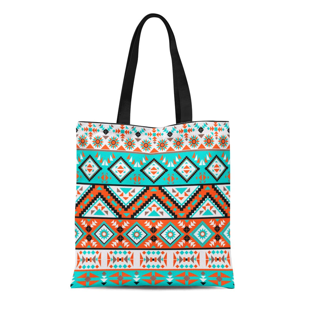 a988269d087f Amazon.com: Semtomn Canvas Tote Bag Shoulder Bags Mexican Green Ikat ...
