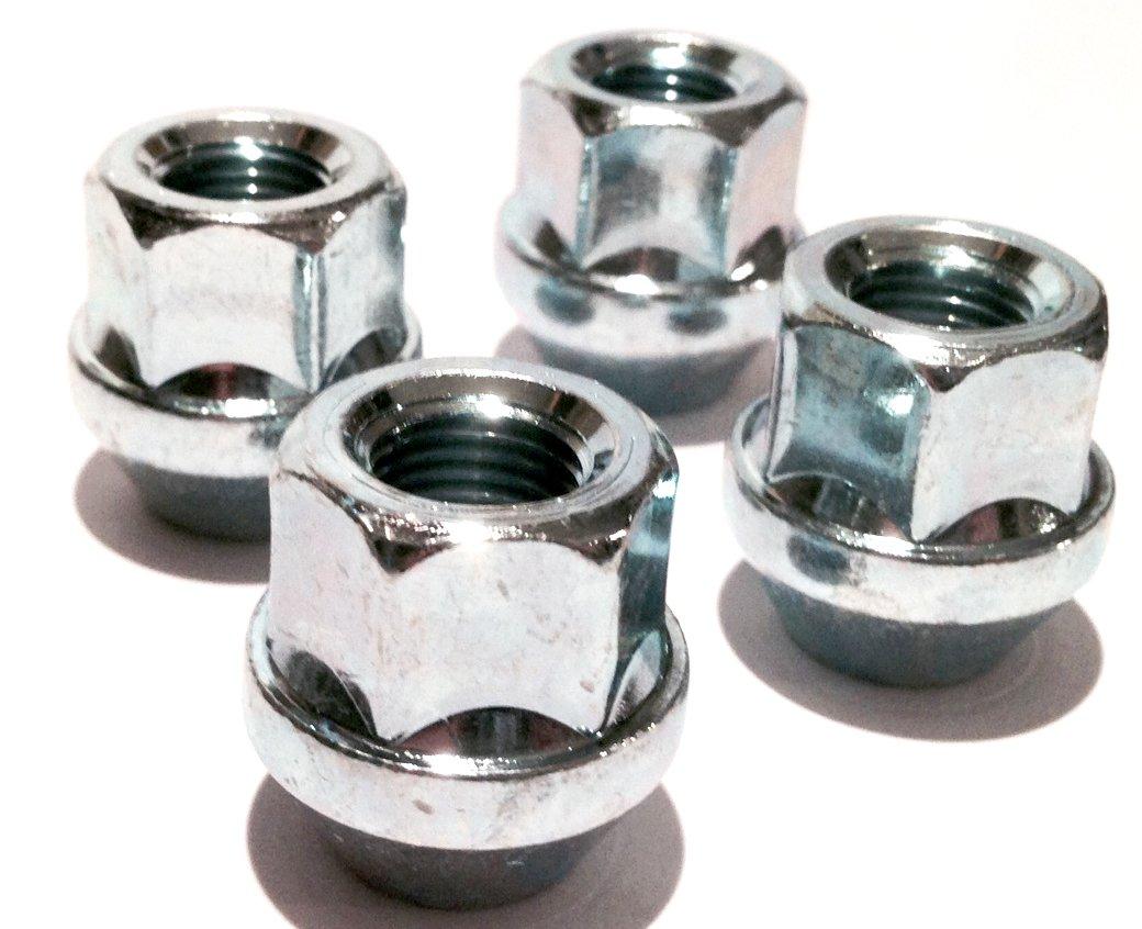 Alloy wheel nuts open head Zinc plated M12x1.25 M12 x 1.25 Taper seat Set of 4 wheel nuts 19mm hex