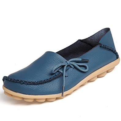 Casual Moccasin Driving Women's Genuine Leather Loafers Shoes Indoor Flat Slip-On Slippers