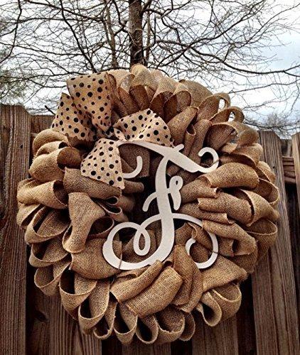 Initial Burlap Wreath, Monogram Wreath, Front Door Wreath