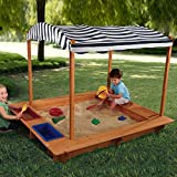 MD Group Sandbox Kids Play Reinforced Wooden Panels with Fabric Canopy Outdoor Play