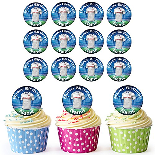 AKGifts England Football Shirts 30 Personalised Edible Cupcake Toppers / Birthday Cake Decorations - Easy Precut Circles
