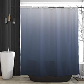 Orange Design Luxurious Ombre Navy Blue Shower Curtain for Bathroom, Simple Modern Color Curtains Home Decor, Waterproof Fabric, Dark Teal 71x71 inch …