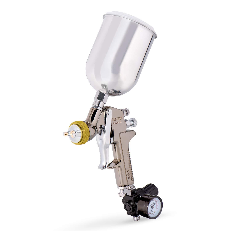 Neiko 31215A HVLP Gravity Feed Air Spray Gun, 1.7 mm Nozzle Size, 600 cc Aluminum Cup, 1.7 mm nozzle
