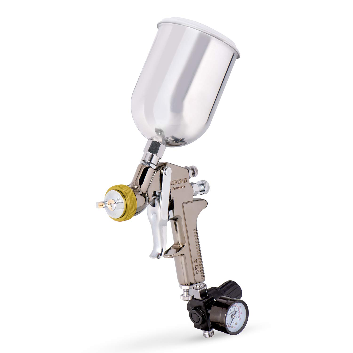 Neiko 31215A HVLP Gravity Feed Air Spray Gun, 1.7 mm Nozzle Size, 600 cc Aluminum Cup, 1.7 mm nozzle by Neiko
