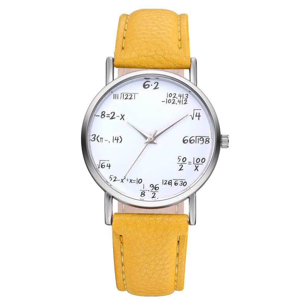 Sourats Artificial Leather Band Math Formula Dial Wrist Quartz Analog Watch 24cm (Yellow)