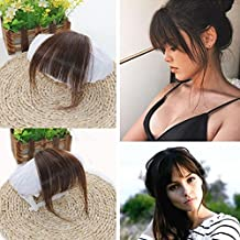 Ugeat Dark Brown #2 Front Fringe Clip in Hair Extensions One Piece Striaght Air Hair Piece Accessories with Hair Temples