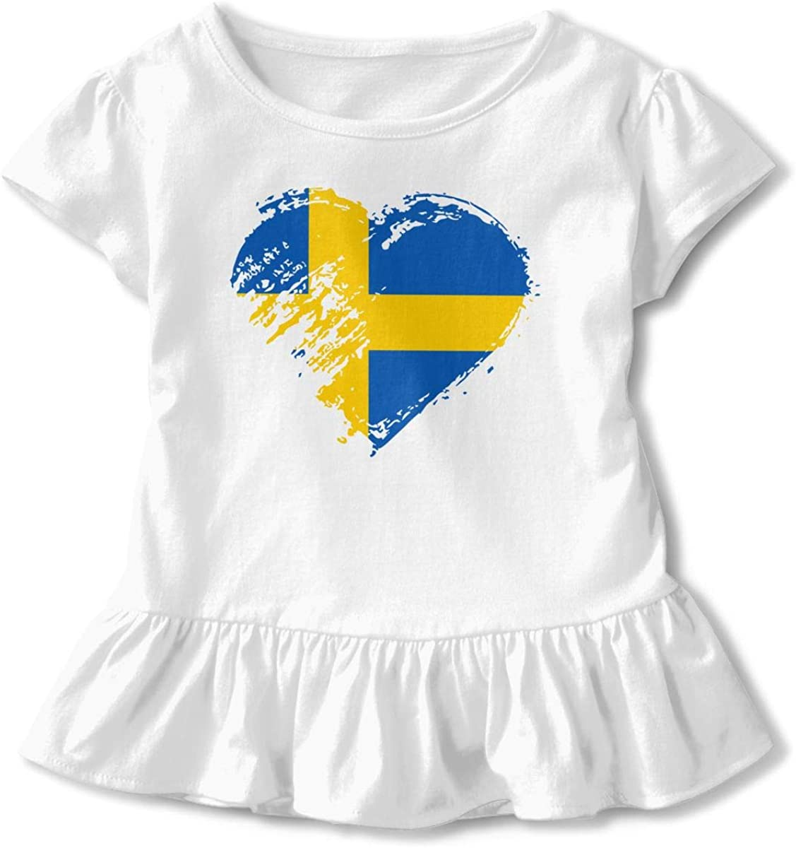 I Love Swedish Heart Flag Toddler Baby Girl Short Sleeve Graphic Top