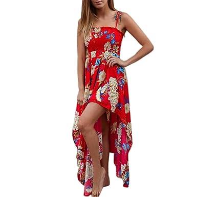 e0ed414705c OHQ Robe De IrréGulièRe pour Femme Blanc Rouge Mi Longues Chic Taille Courte  Soiree Longue Soldes
