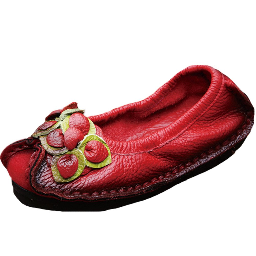 Vogstyle Femme Cuir Fleur en Femme Cuir Slip-on Style 4 4 Rouge 3316230 - automatisms.space