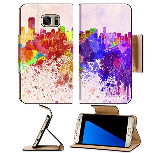 Liili Premium Samsung Galaxy S7 Edge Flip Pu Wallet Case Image Id  27383127 Miami Skyline In Watercolor Background