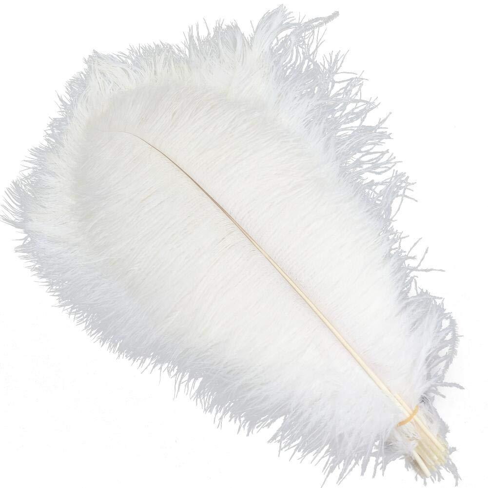 Sowder 5pcs Ostrich Feathers 16-18inch(40-45cm) Home Wedding Decoration(White)
