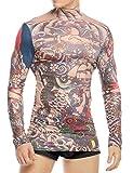 Coofandy Men's Tattoo Multi-coloured Tribal Inspired Print Long Sleeve Halloween Wearing Shirt Red XX-Large
