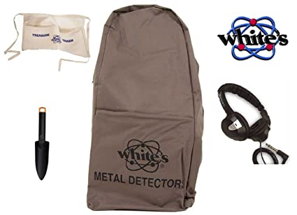 De color blanco de metal detector de mochila Bundle – 4 ITEMS: 1 detector de
