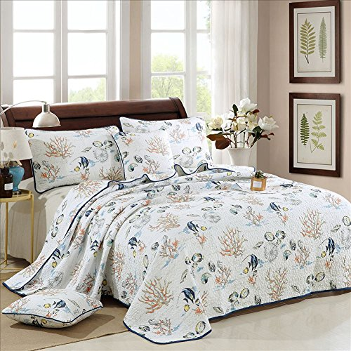 Coral Ocean Printed Pattern 3-Piece Quilt Set, Super Soft Luxury Reversible Patchwork Bedspread and Coverlet. 100% Cotton Queen Size - Printed Coral