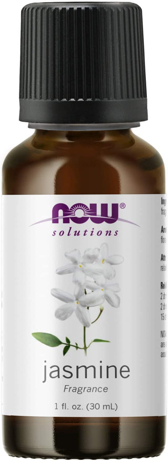 NOW Essential Oils, Jasmine Fragrance, Romantic Aromatherapy Scent, Steam Distilled, 100% Pure, Vegan, Child Resistant Cap, 1-Ounce
