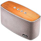 COMISO 30W Bluetooth Speakers with Super Bass, Bamboo Wood Home Speaker with Subwoofer - (Grey)