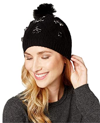 b70bed2885113 Charter Club Faux-Fur Pom Pom Cashmere Beanie in Classic Black  Amazon.co.uk   Clothing