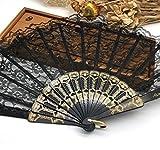 Black Spanish Hand Fan Fabric Floral Floral Lace Edge Folding Hand Fans Dancing Party Fan Decor