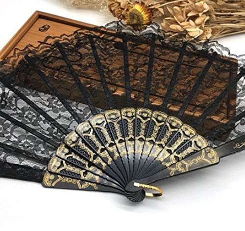 Black Spanish Hand Fan Fabric Floral Floral Lace Edge Folding Hand Fans Dancing Party Fan Decor by Hand Fan