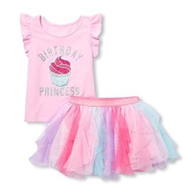 Amazon The Childrens Place Baby Girls Sleeveless Birthday Shirt And Skirt Set Clothing