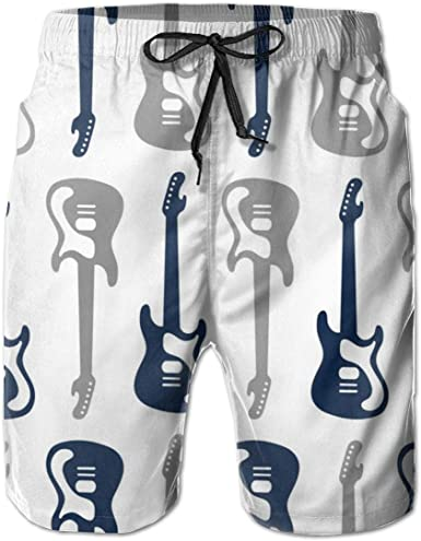 Rock-N-Roll Mens Beach Shorts Elastic Waist Pockets Lightweight Swimming Board Short Quick Dry Short Trunks