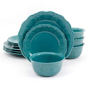 The Pioneer Woman Cowgirl Lace 12-Piece Dinnerware Set, Microwave and Dishwasher Safe (Teal)