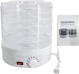 Lfhelper Food Dehydrator Machine Multi-Tier Kitchen Food Dryer Appliance White 5 Stackable Transparent Trays 95-158°F Adjustable Temperature Range for Beef&Jerky&Meat&Fruit&Vegetable&Treats& Herbs