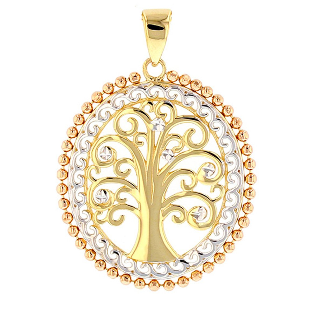 14K Yellow Gold & Rose Gold Oval Budded Tree of Life Charm Pendant
