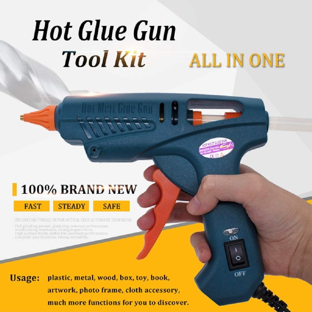 Glue Gun 100W Hot Melt with Tool Kit Include 11mm Glue Sticks Copper Nozzles Nozzle Covers Aluminium Spanner with Power Switch by LVH (Image #2)